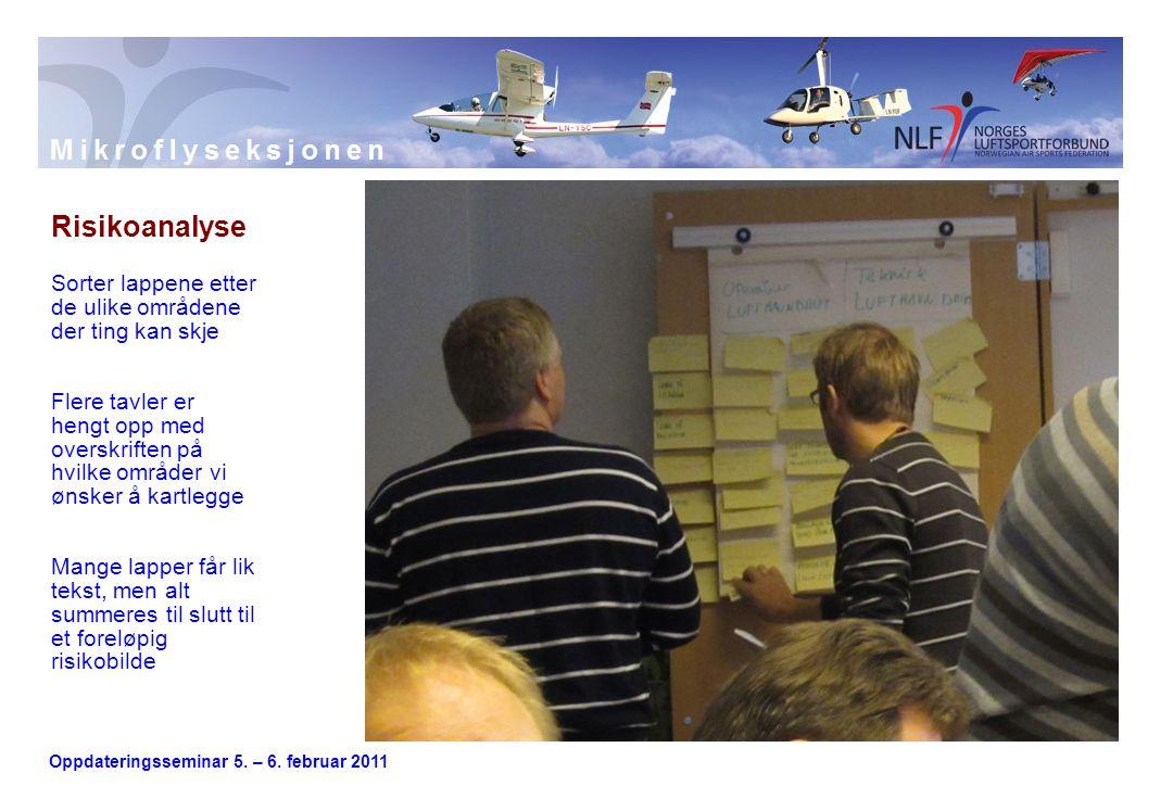 Oppdateringsseminar 5. – 6. februar 2011 Risikoanalyse Sorter lappene etter de ulike områdene der ting kan skje Flere tavler er hengt opp med overskri