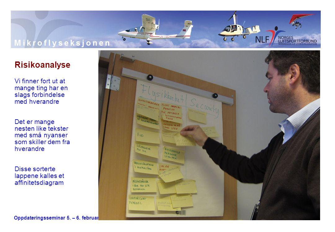 Oppdateringsseminar 5. – 6. februar 2011 Risikoanalyse Vi finner fort ut at mange ting har en slags forbindelse med hverandre Det er mange nesten like