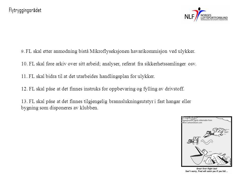 Flytryggingsrådet 9. FL skal etter anmodning bistå Mikroflyseksjonen havarikommisjon ved ulykker.