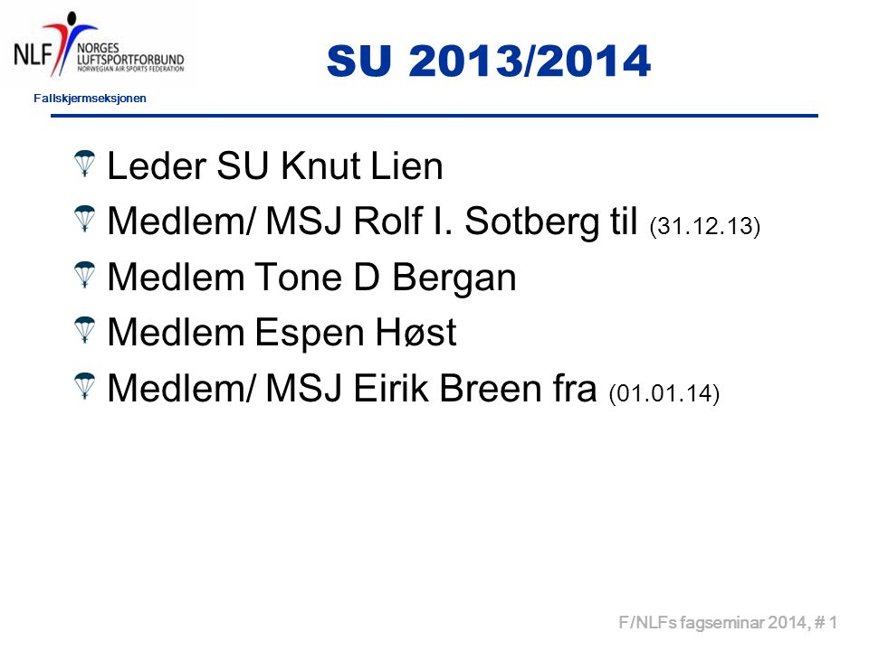 Fallskjermseksjonen F/NLFs fagseminar 2014, # 2 SUs aktivitet/saksbehandling Bytte av HI i 2013 -Bergen FSK -Tønsberg FSK -Kjevik FSK -Stavanger FSK -Voss FSK -KS FSK -Lesja FSK