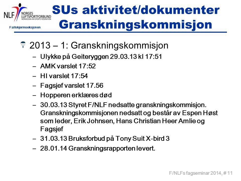Fallskjermseksjonen F/NLFs fagseminar 2014, # 11 SUs aktivitet/dokumenter Granskningskommisjon 2013 – 1: Granskningskommisjon –Ulykke på Geiteryggen 2