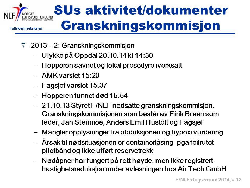Fallskjermseksjonen F/NLFs fagseminar 2014, # 12 SUs aktivitet/dokumenter Granskningskommisjon 2013 – 2: Granskningskommisjon –Ulykke på Oppdal 20.10.