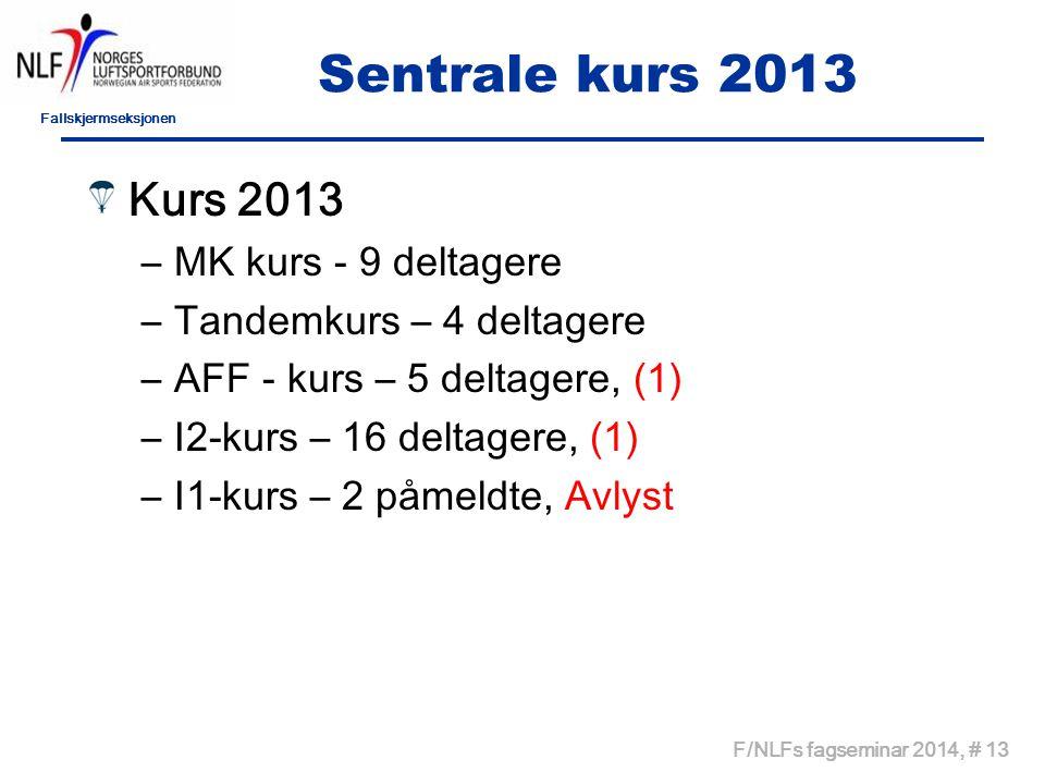 Fallskjermseksjonen F/NLFs fagseminar 2014, # 13 Sentrale kurs 2013 Kurs 2013 –MK kurs - 9 deltagere –Tandemkurs – 4 deltagere –AFF - kurs – 5 deltage