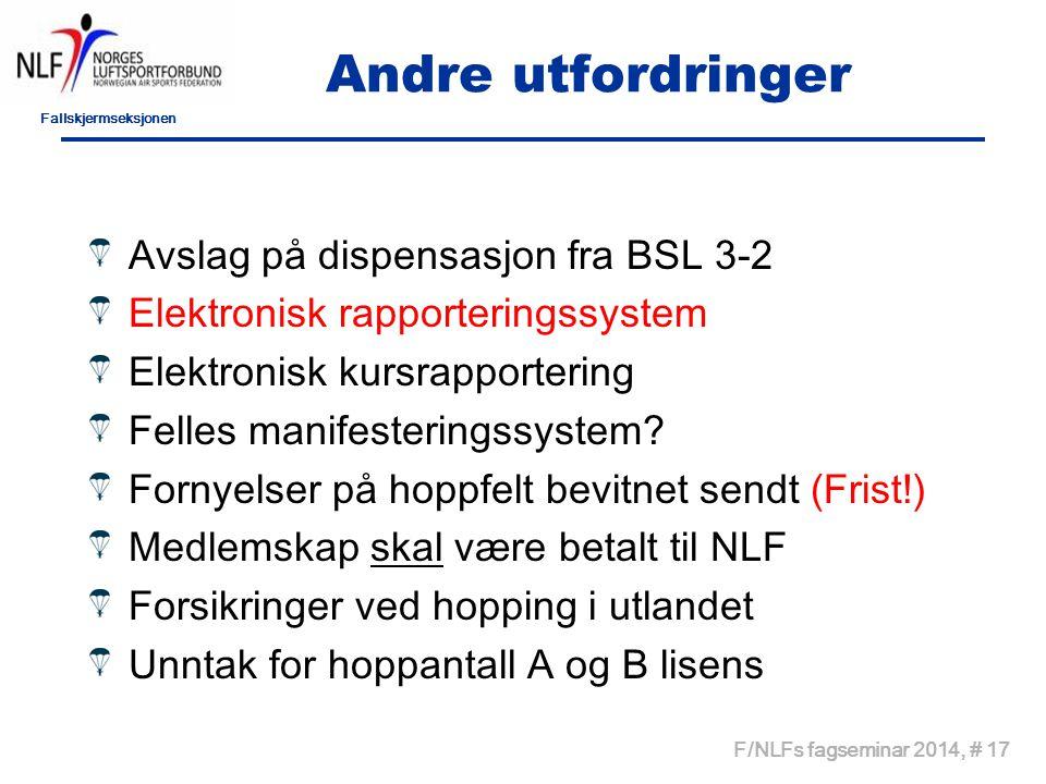 Fallskjermseksjonen F/NLFs fagseminar 2014, # 17 Andre utfordringer Avslag på dispensasjon fra BSL 3-2 Elektronisk rapporteringssystem Elektronisk kur