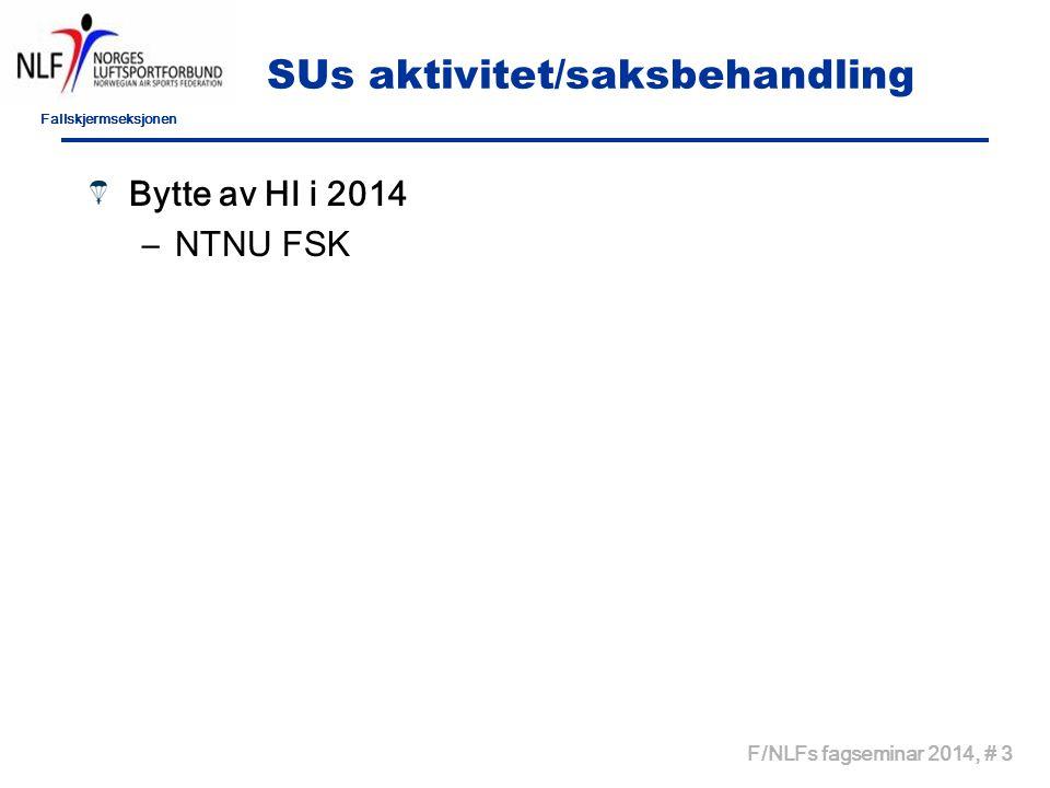 Fallskjermseksjonen F/NLFs fagseminar 2014, # 4 SUs aktivitet – Status HI planer 2013 Føniks ok NTNU ok Stavanger ok Veteranene ok Frist for HI plan er 01.03.14