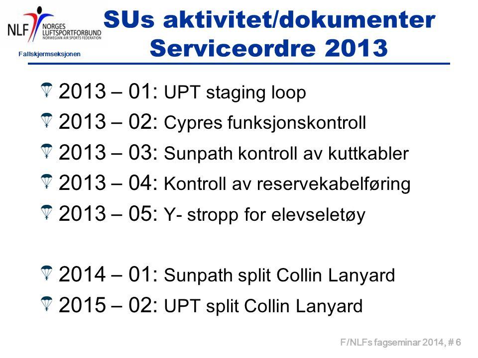 Fallskjermseksjonen F/NLFs fagseminar 2014, # 6 SUs aktivitet/dokumenter Serviceordre 2013 2013 – 01: UPT staging loop 2013 – 02: Cypres funksjonskont