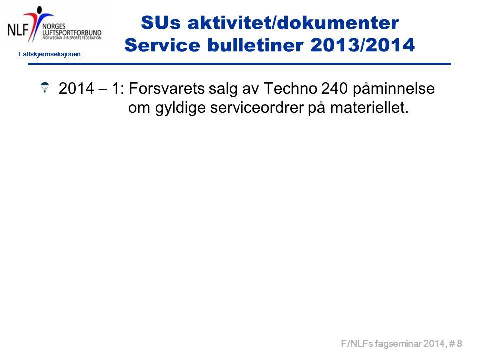 Fallskjermseksjonen F/NLFs fagseminar 2014, # 8 SUs aktivitet/dokumenter Service bulletiner 2013/2014 2014 – 1: Forsvarets salg av Techno 240 påminnel