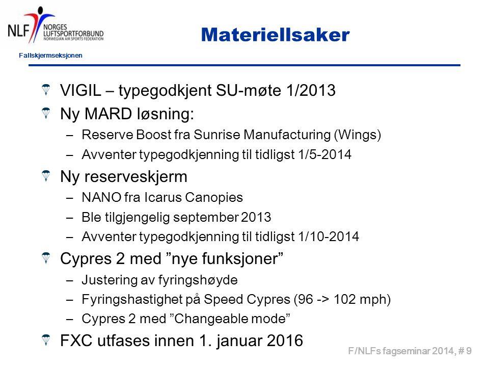 Fallskjermseksjonen F/NLFs fagseminar 2014, # 9 Materiellsaker VIGIL – typegodkjent SU-møte 1/2013 Ny MARD løsning: –Reserve Boost fra Sunrise Manufac