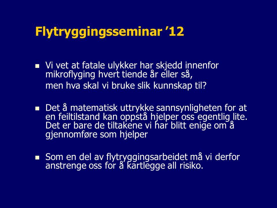 Flytryggingsseminar '12 Vi vet at fatale ulykker har skjedd innenfor mikroflyging hvert tiende år eller så, men hva skal vi bruke slik kunnskap til.