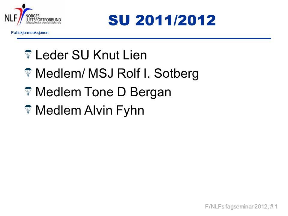 Fallskjermseksjonen F/NLFs fagseminar 2012, # 1 SU 2011/2012 Leder SU Knut Lien Medlem/ MSJ Rolf I.