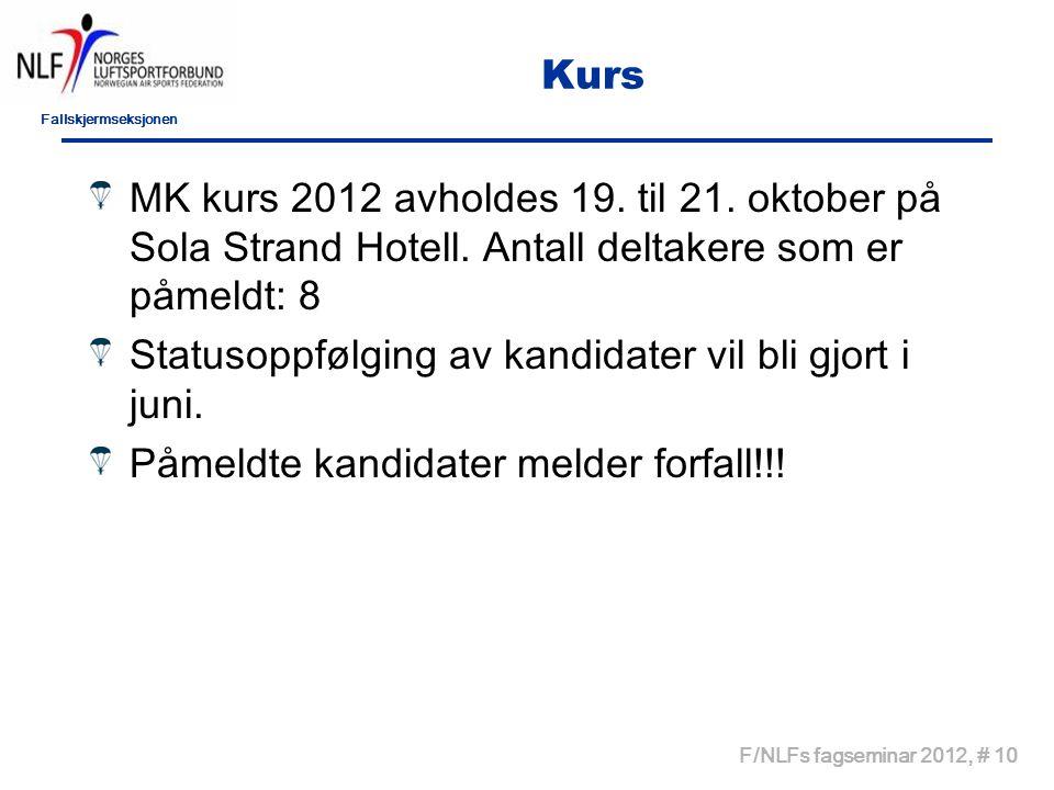 Fallskjermseksjonen F/NLFs fagseminar 2012, # 10 Kurs MK kurs 2012 avholdes 19.