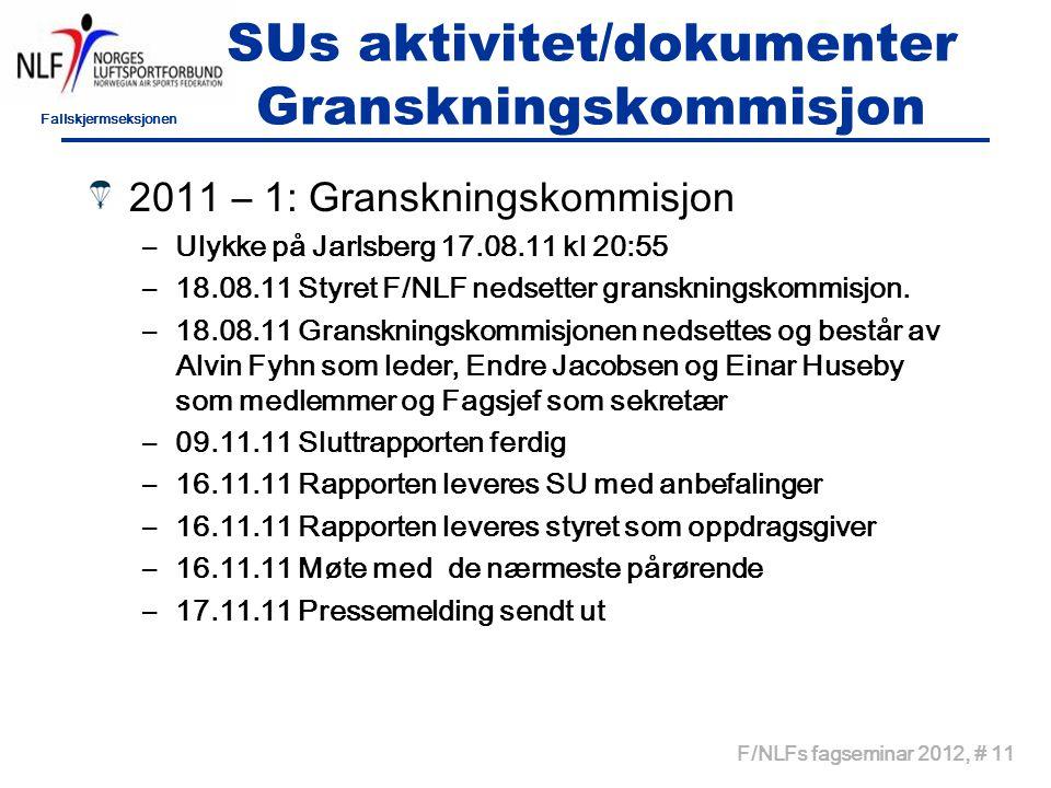 Fallskjermseksjonen F/NLFs fagseminar 2012, # 11 SUs aktivitet/dokumenter Granskningskommisjon 2011 – 1: Granskningskommisjon –Ulykke på Jarlsberg 17.08.11 kl 20:55 –18.08.11 Styret F/NLF nedsetter granskningskommisjon.