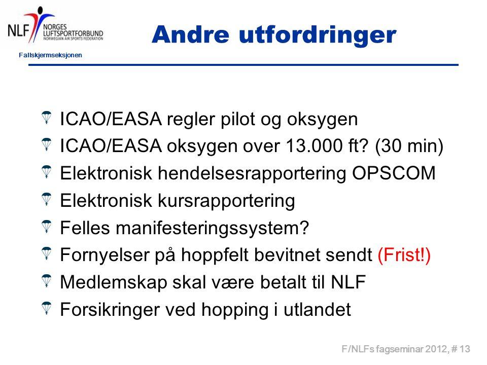 Fallskjermseksjonen F/NLFs fagseminar 2012, # 13 Andre utfordringer ICAO/EASA regler pilot og oksygen ICAO/EASA oksygen over 13.000 ft.