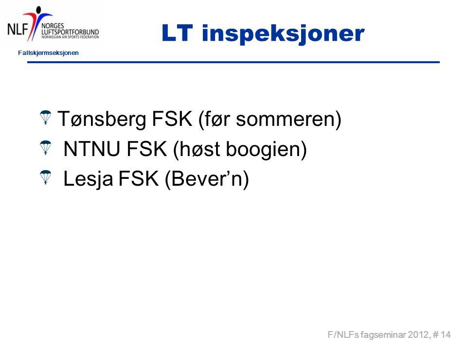 Fallskjermseksjonen F/NLFs fagseminar 2012, # 14 LT inspeksjoner Tønsberg FSK (før sommeren) NTNU FSK (høst boogien) Lesja FSK (Bever'n)