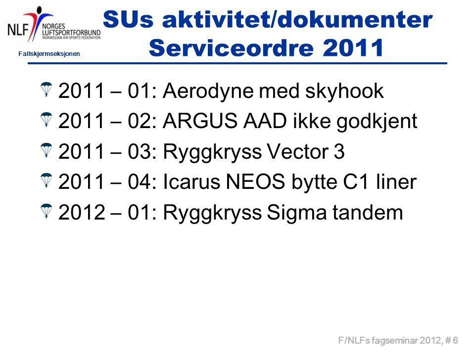 Fallskjermseksjonen F/NLFs fagseminar 2012, # 6 SUs aktivitet/dokumenter Serviceordre 2011 2011 – 01: Aerodyne med skyhook 2011 – 02: ARGUS AAD ikke godkjent 2011 – 03: Ryggkryss Vector 3 2011 – 04: Icarus NEOS bytte C1 liner 2012 – 01: Ryggkryss Sigma tandem