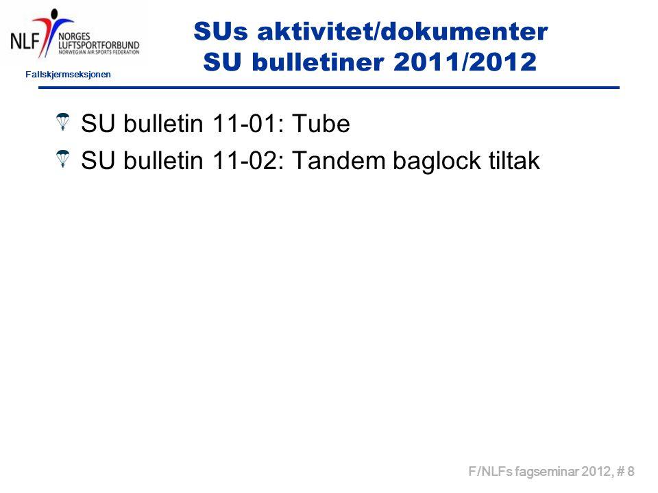 Fallskjermseksjonen F/NLFs fagseminar 2012, # 8 SUs aktivitet/dokumenter SU bulletiner 2011/2012 SU bulletin 11-01: Tube SU bulletin 11-02: Tandem baglock tiltak