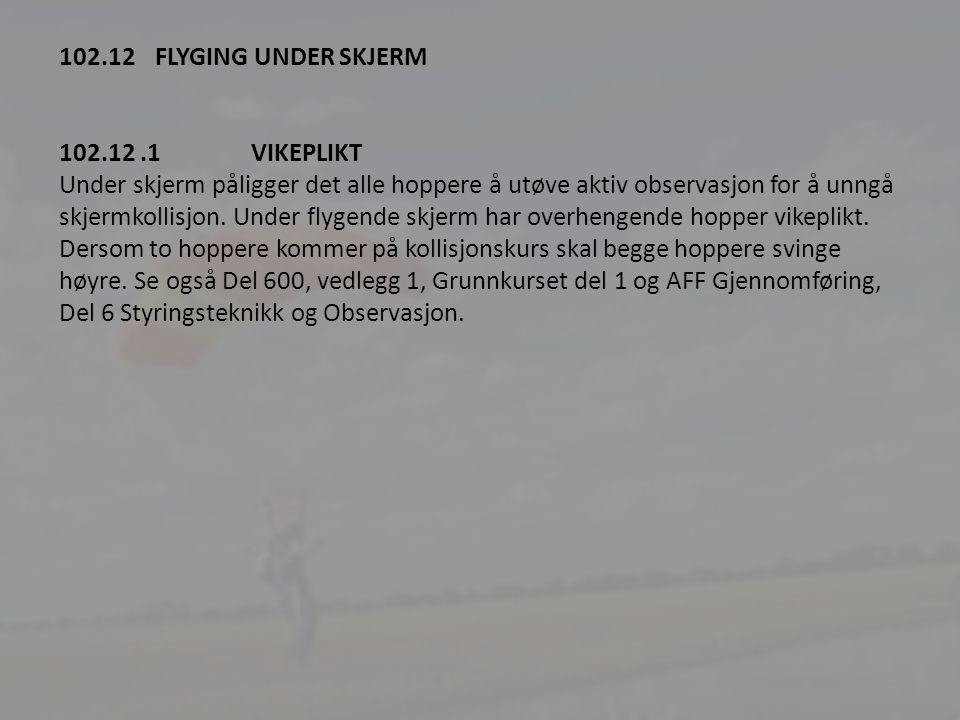 2 102.12 FLYGING UNDER SKJERM 102.12.1VIKEPLIKT Under skjerm påligger det alle hoppere å utøve aktiv observasjon for å unngå skjermkollisjon.