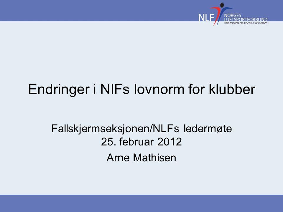 Endringer i NIFs lovnorm for klubber Fallskjermseksjonen/NLFs ledermøte 25.