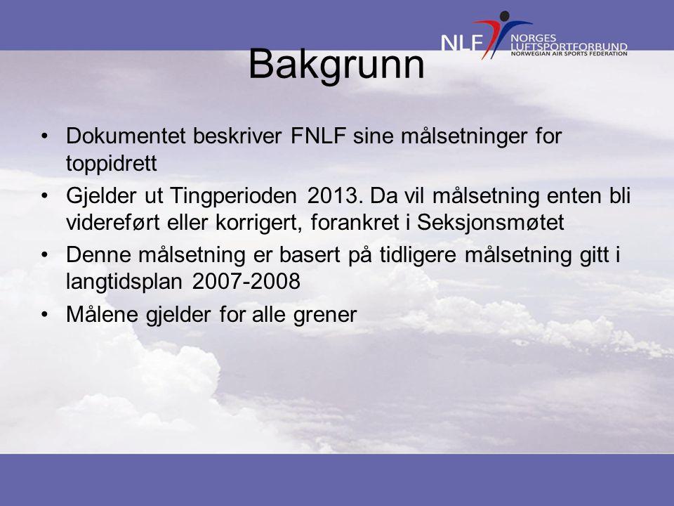 Bakgrunn Dokumentet beskriver FNLF sine målsetninger for toppidrett Gjelder ut Tingperioden 2013. Da vil målsetning enten bli videreført eller korrige