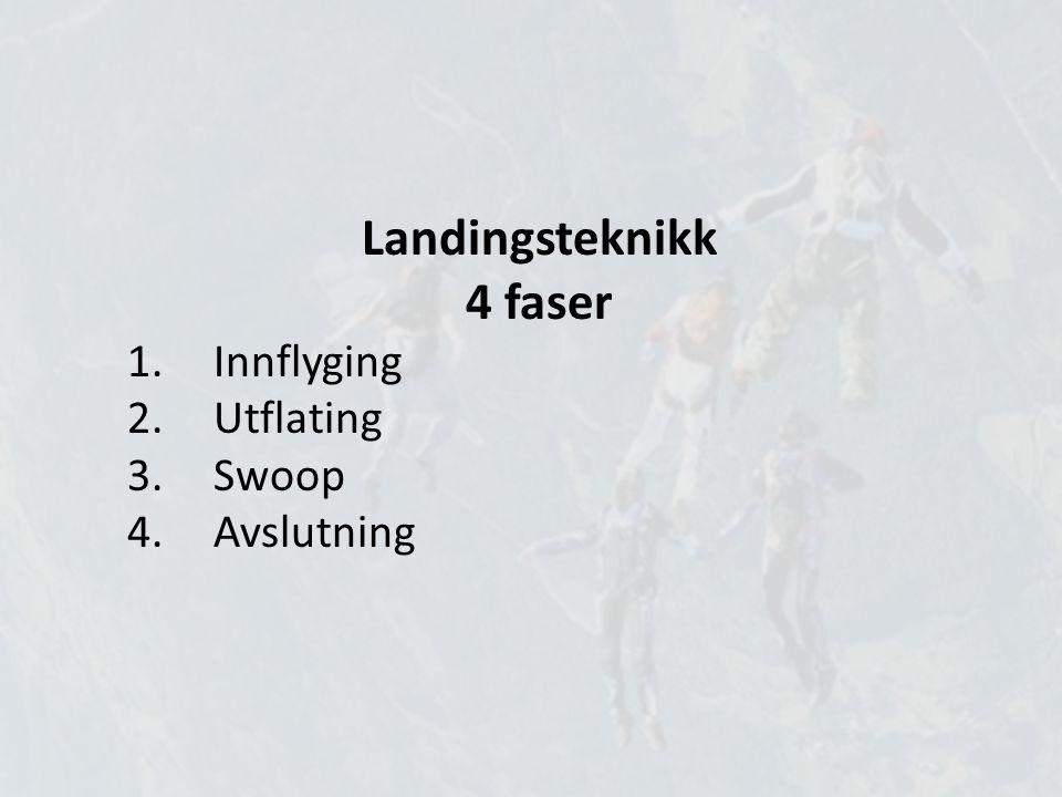 Landingsteknikk 4 faser 1.Innflyging 2.Utflating 3.Swoop 4.Avslutning