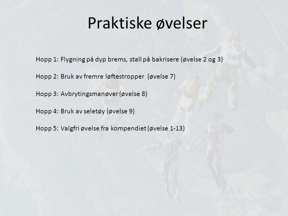 Praktiske øvelser Hopp 1: Flygning på dyp brems, stall på bakrisere (øvelse 2 og 3) Hopp 2: Bruk av fremre løftestropper (øvelse 7) Hopp 3: Avbrytings