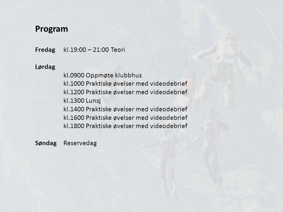 Program Fredag kl.19:00 – 21:00 Teori Lørdag kl.0900 Oppmøte klubbhus kl.1000 Praktiske øvelser med videodebrief kl.1200 Praktiske øvelser med videode