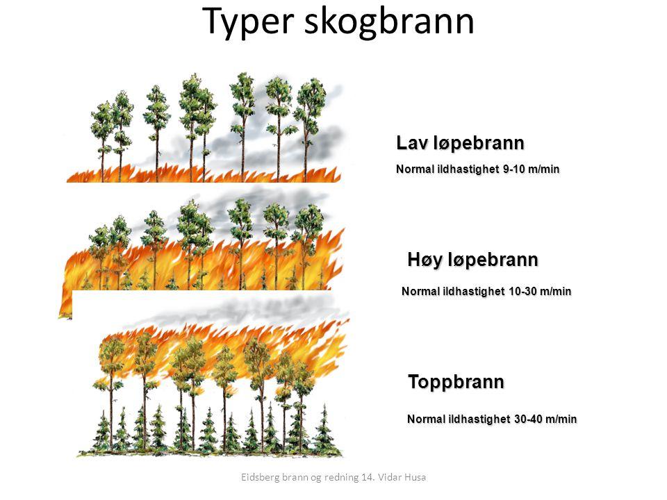 Eidsberg brann og redning 14. Vidar Husa Typer skogbrann Høy løpebrann Toppbrann Lav løpebrann Normal ildhastighet 9-10 m/min Normal ildhastighet 10-3