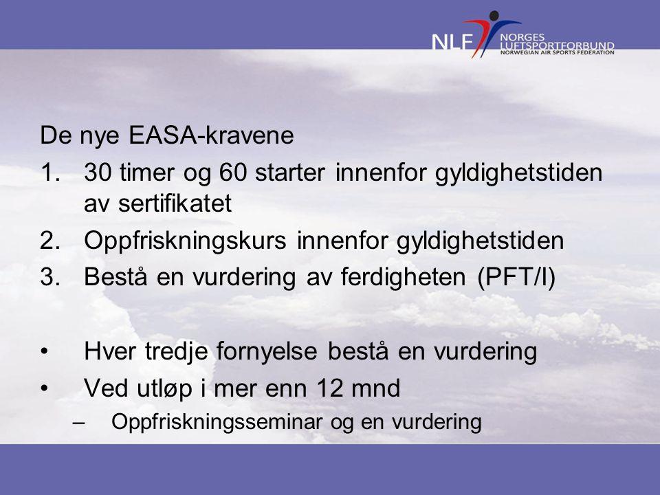 De nye EASA-kravene 1.30 timer og 60 starter innenfor gyldighetstiden av sertifikatet 2.Oppfriskningskurs innenfor gyldighetstiden 3.Bestå en vurderin