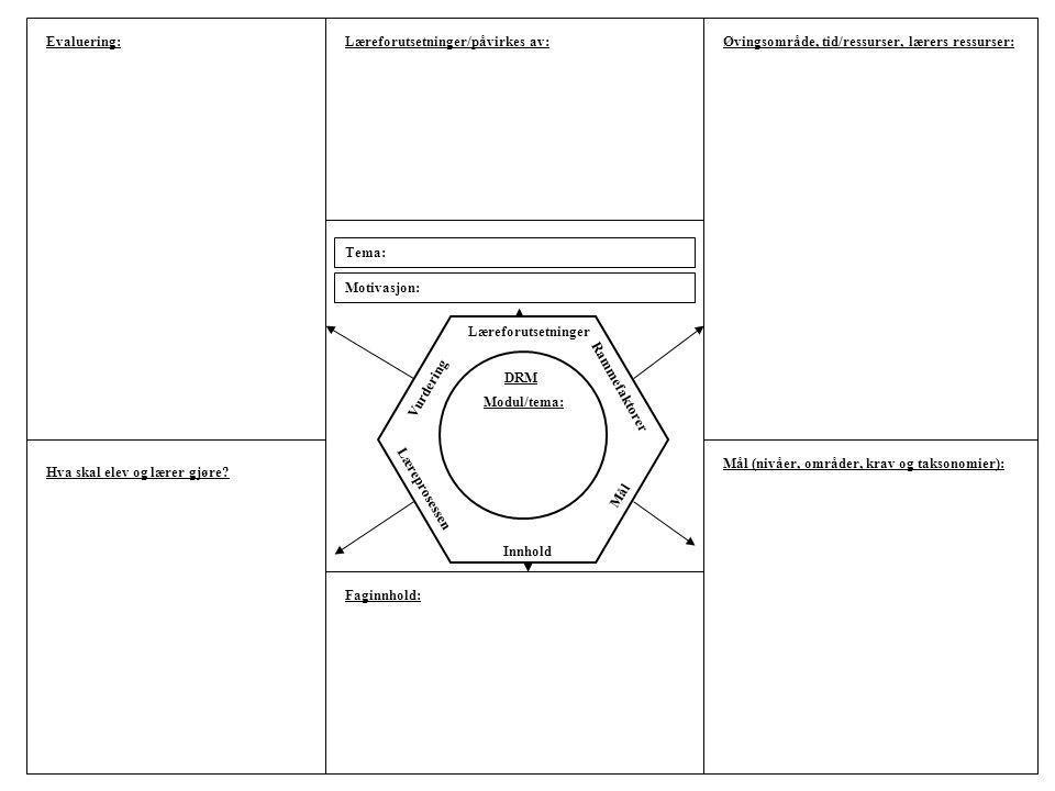 Læreforutsetninger Rammefaktorer Mål Læreprosessen Innhold Vurdering Tema: Motivasjon: Evaluering:Læreforutsetninger/påvirkes av:Øvingsområde, tid/res