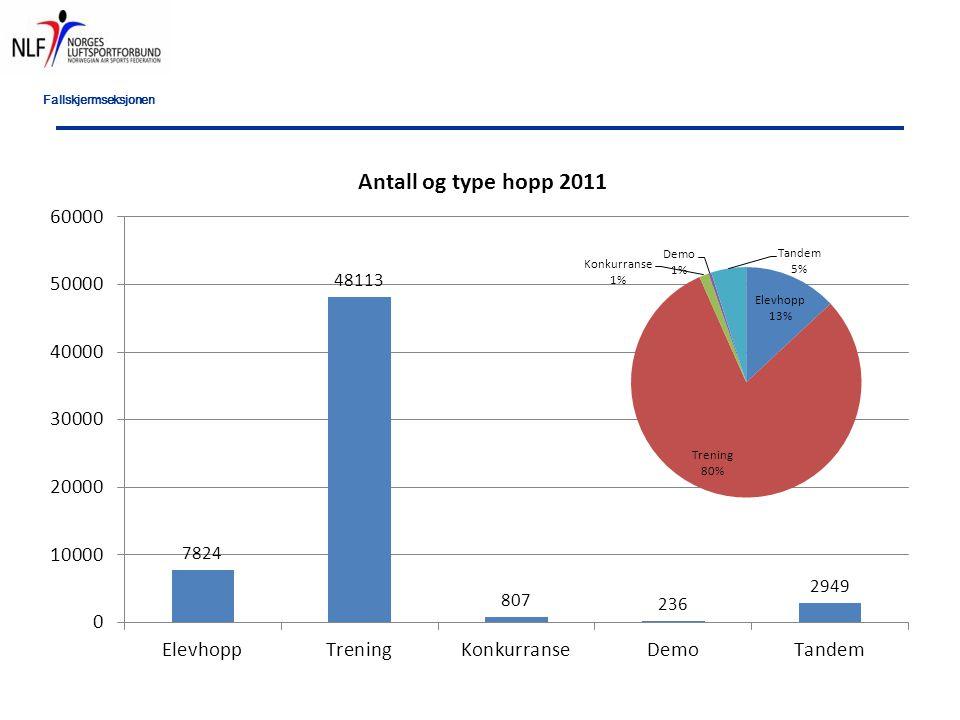 Fallskjermseksjonen Antall skader fordelt på erfaringsnivå Elever16 ->250 hopp11 251-500 hopp7 501-1000 hopp2 1000 hopp6