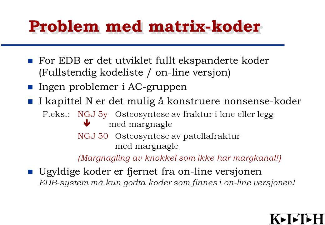 Problem med matrix-koder For EDB er det utviklet fullt ekspanderte koder (Fullstendig kodeliste / on-line versjon) Ingen problemer i AC-gruppen I kapi