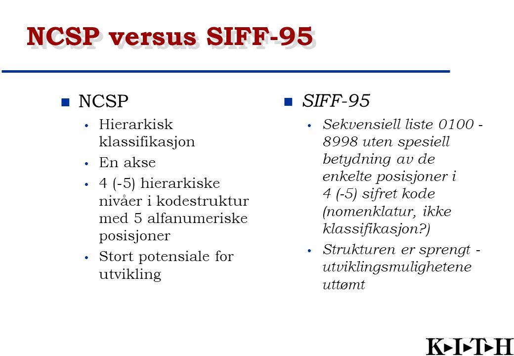 NCSP versus SIFF-95 NCSP Hierarkisk klassifikasjon En akse 4 (-5) hierarkiske nivåer i kodestruktur med 5 alfanumeriske posisjoner Stort potensiale fo