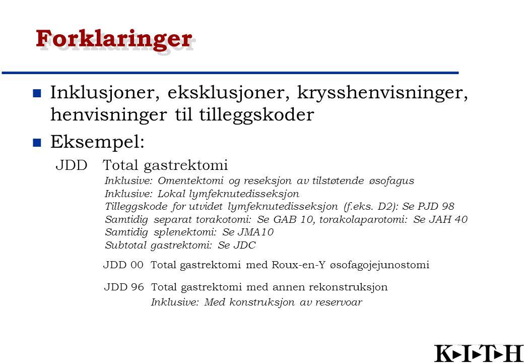Forklaringer Inklusjoner, eksklusjoner, krysshenvisninger, henvisninger til tilleggskoder Eksempel: JDD Total gastrektomi Inklusive: Omentektomi og re