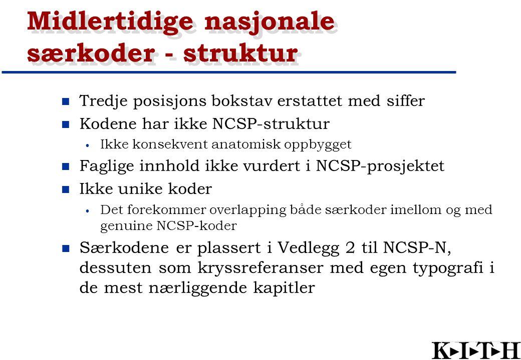 Midlertidige nasjonale særkoder - struktur Tredje posisjons bokstav erstattet med siffer Kodene har ikke NCSP-struktur Ikke konsekvent anatomisk oppby