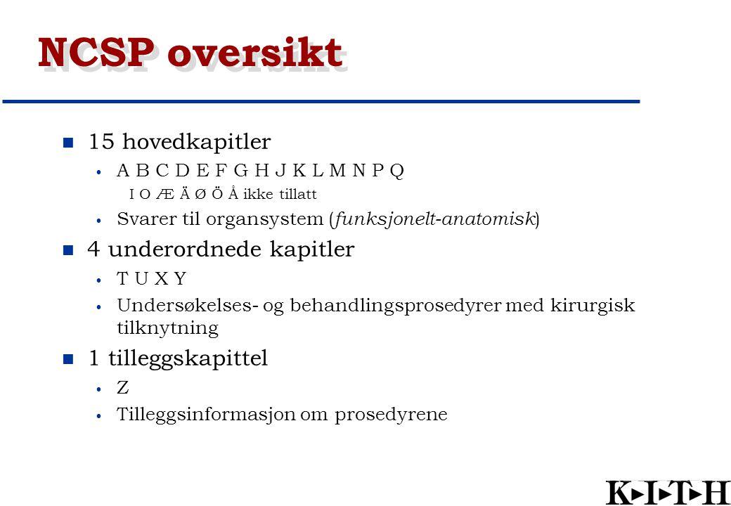 NCSP oversikt 15 hovedkapitler A B C D E F G H J K L M N P Q I O Æ Ä Ø Ö Å ikke tillatt Svarer til organsystem ( funksjonelt-anatomisk ) 4 underordned