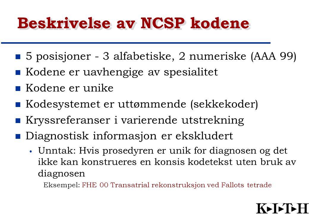 Beskrivelse av NCSP kodene 5 posisjoner - 3 alfabetiske, 2 numeriske (AAA 99) Kodene er uavhengige av spesialitet Kodene er unike Kodesystemet er uttø