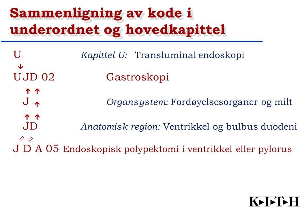 U Kapittel U: Transluminal endoskopi UJD 02Gastroskopi J Organsystem: Fordøyelsesorganer og milt JD Anatomisk region: Ventrikkel og bulbus duodeni J D