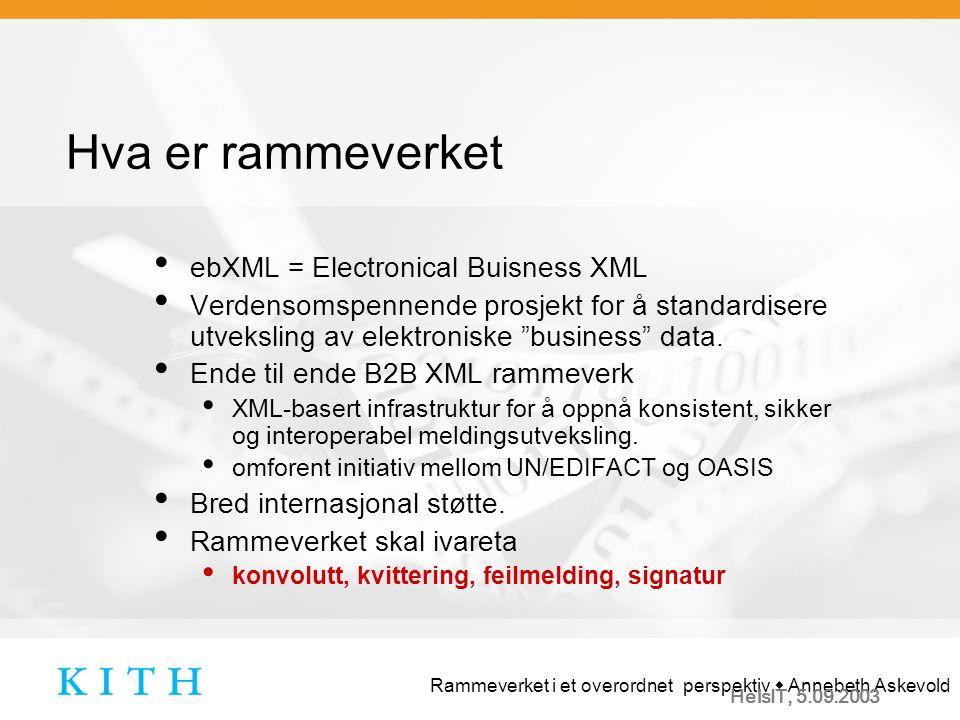 Rammeverket i et overordnet perspektiv  Annebeth Askevold HelsIT, 5.09.2003 Behovet for rammeverket.