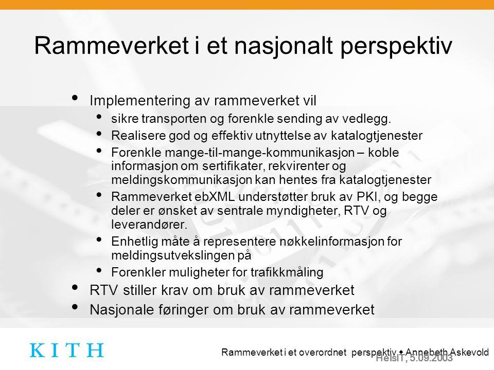 Rammeverket i et overordnet perspektiv  Annebeth Askevold HelsIT, 5.09.2003 Rammeverket i et nasjonalt perspektiv Implementering av rammeverket vil sikre transporten og forenkle sending av vedlegg.