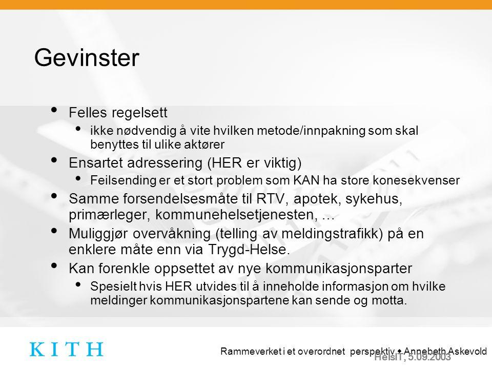 Rammeverket i et overordnet perspektiv  Annebeth Askevold HelsIT, 5.09.2003 Hva kan KITH og SSP gjøre.