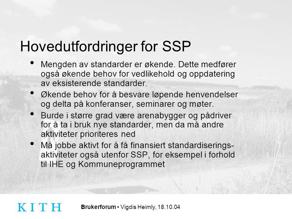 Brukerforum Vigdis Heimly, 18.10.04 Hovedutfordringer for SSP Mengden av standarder er økende.