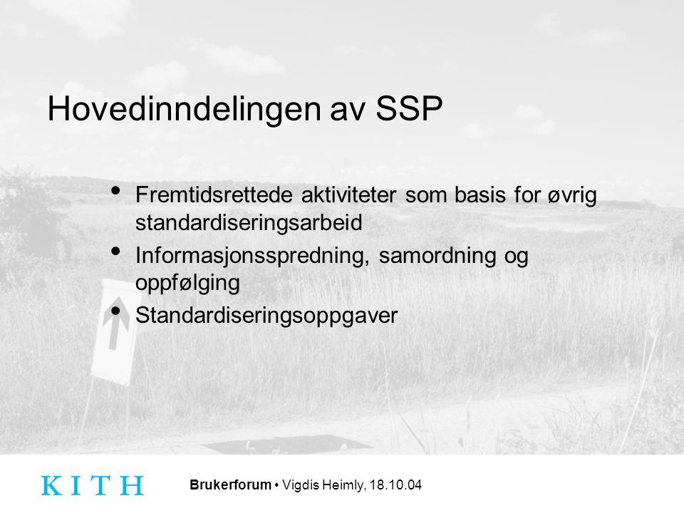 Brukerforum Vigdis Heimly, 18.10.04 Hovedinndelingen av SSP Fremtidsrettede aktiviteter som basis for øvrig standardiseringsarbeid Informasjonsspredning, samordning og oppfølging Standardiseringsoppgaver
