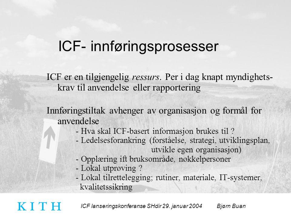 ICF lanseringskonferanse SHdir 29. januar 2004 Bjørn Buan ICF- innføringsprosesser ICF er en tilgjengelig ressurs. Per i dag knapt myndighets- krav ti