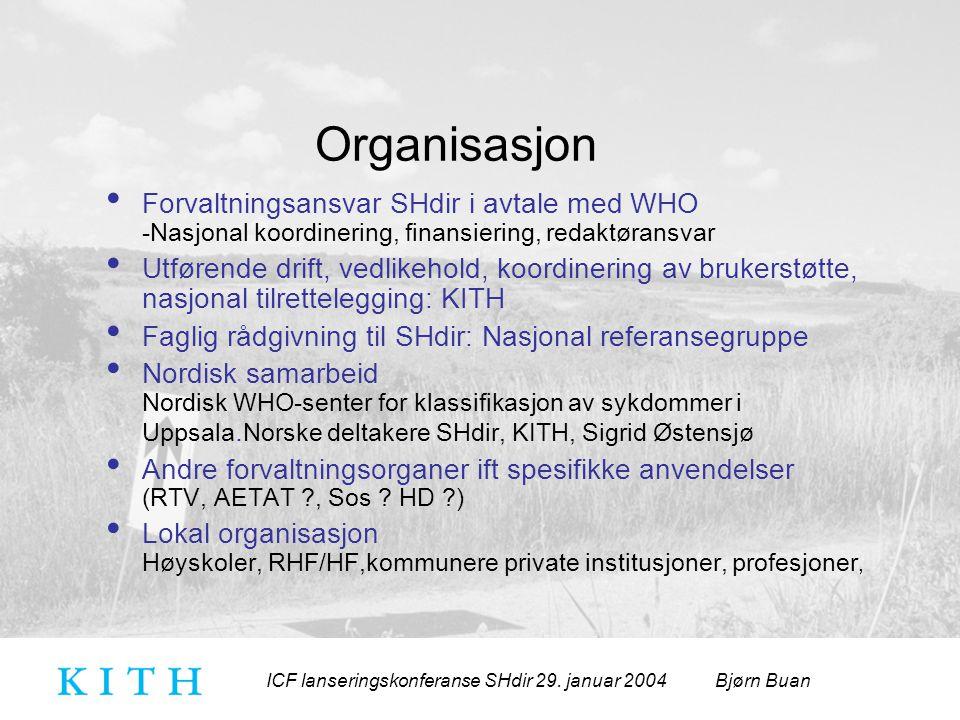 ICF lanseringskonferanse SHdir 29. januar 2004 Bjørn Buan Organisasjon Forvaltningsansvar SHdir i avtale med WHO -Nasjonal koordinering, finansiering,