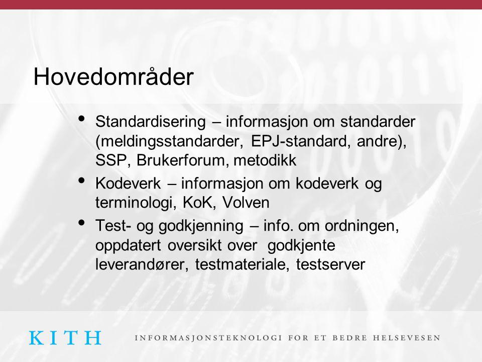 Hovedområder Standardisering – informasjon om standarder (meldingsstandarder, EPJ-standard, andre), SSP, Brukerforum, metodikk Kodeverk – informasjon om kodeverk og terminologi, KoK, Volven Test- og godkjenning – info.