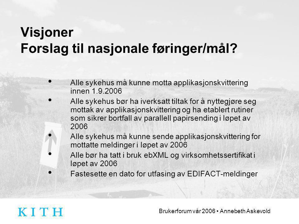 Brukerforum vår 2006 Annebeth Askevold Visjoner Forslag til nasjonale føringer/mål.