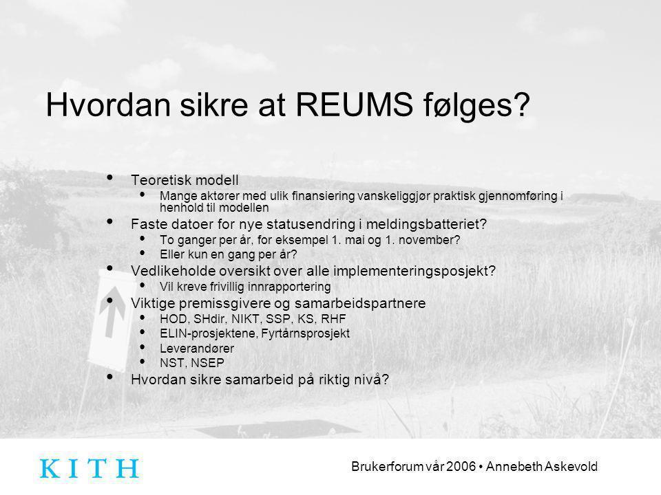 Brukerforum vår 2006 Annebeth Askevold Hvordan sikre at REUMS følges.