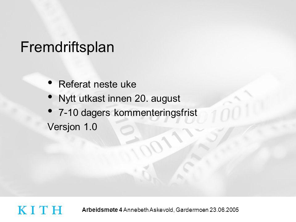 Arbeidsmøte 4 Annebeth Askevold, Gardermoen 23.06.2005 Fremdriftsplan Referat neste uke Nytt utkast innen 20. august 7-10 dagers kommenteringsfrist Ve