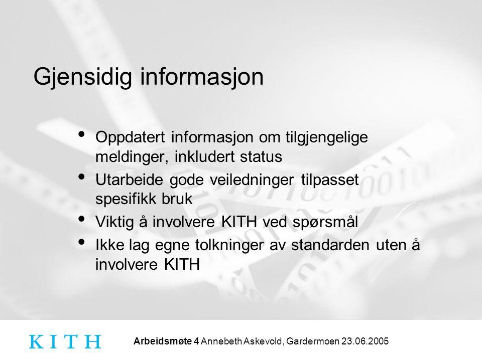 Arbeidsmøte 4 Annebeth Askevold, Gardermoen 23.06.2005 Gjensidig informasjon Oppdatert informasjon om tilgjengelige meldinger, inkludert status Utarbe