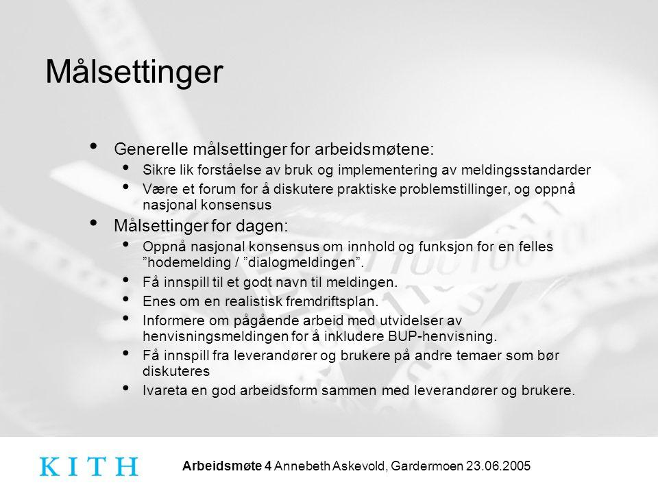 Arbeidsmøte 4 Annebeth Askevold, Gardermoen 23.06.2005 Målsettinger Generelle målsettinger for arbeidsmøtene: Sikre lik forståelse av bruk og implemen